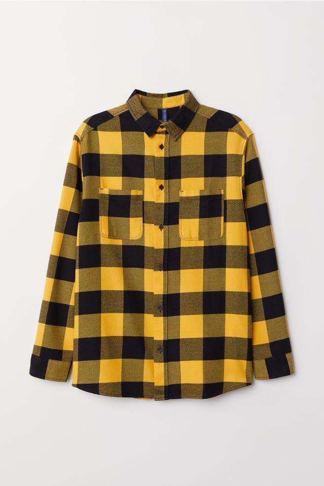 Cotton Flannel Shirt - Yellow/black plaid - Men   H&M US
