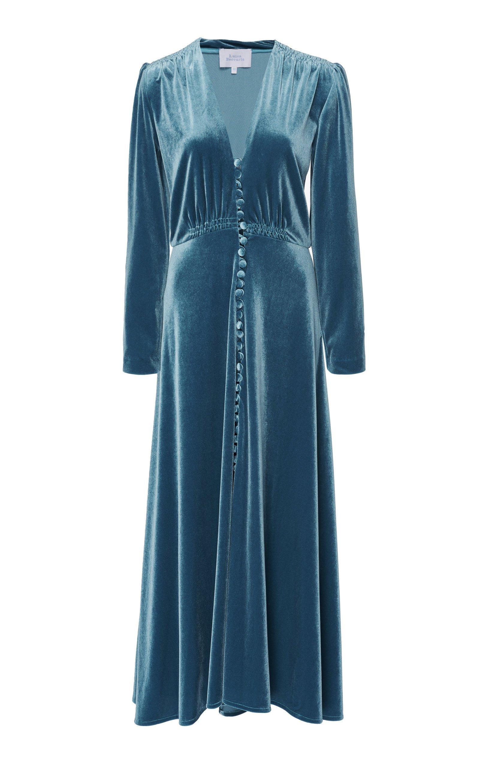 Luisa Beccaria Velvet Midi Dress
