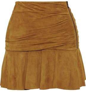 Weston Gathered Suede Mini Skirt