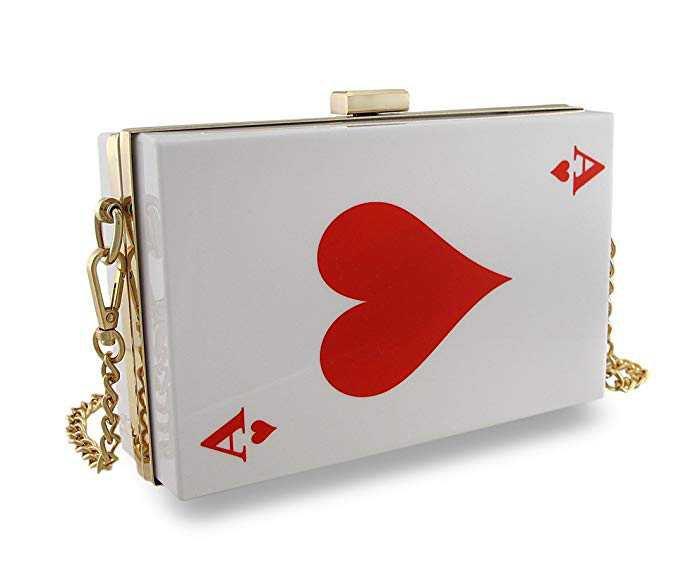 Playing Card Clutch Purse Hard Shell Poker Evening Bag Plastic Womens Clutch Handbags Red: Handbags: Amazon.com