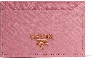 Textured-leather Cardholder - Pink