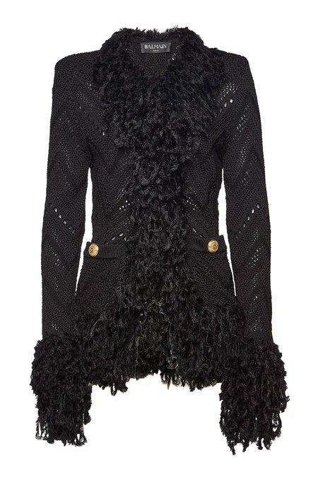 Balmain - Knit Blazer with Virgin Wool - black