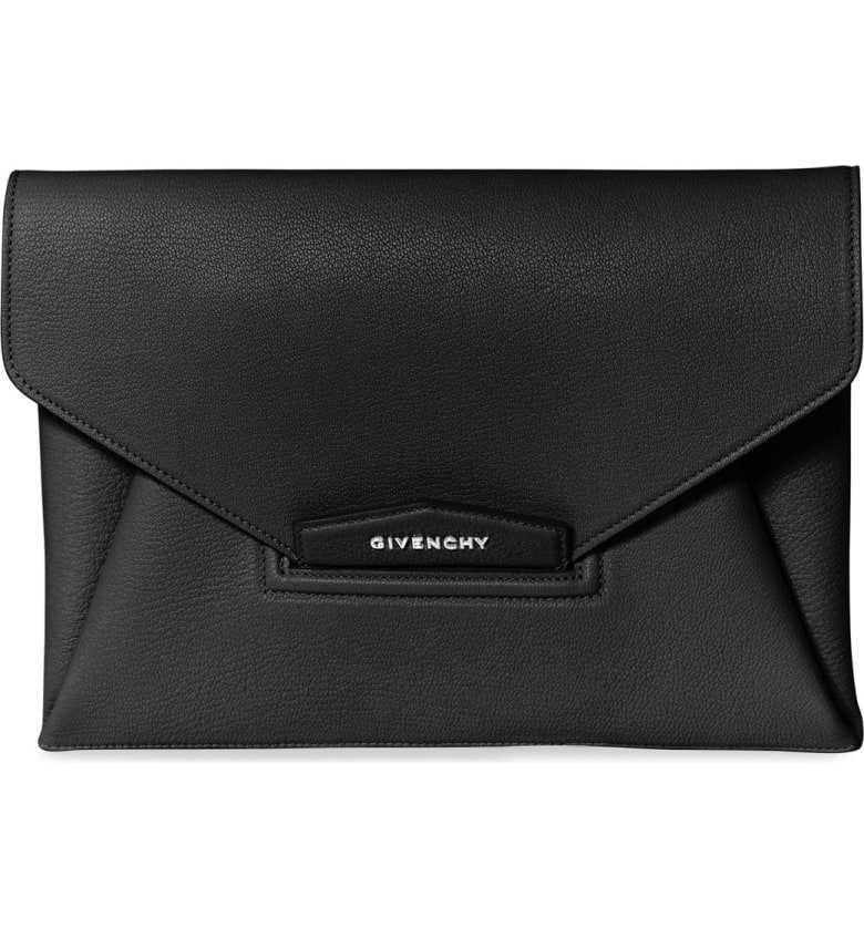 Givenchy   'Medium Antigona' Leather Envelope Clutch in Black