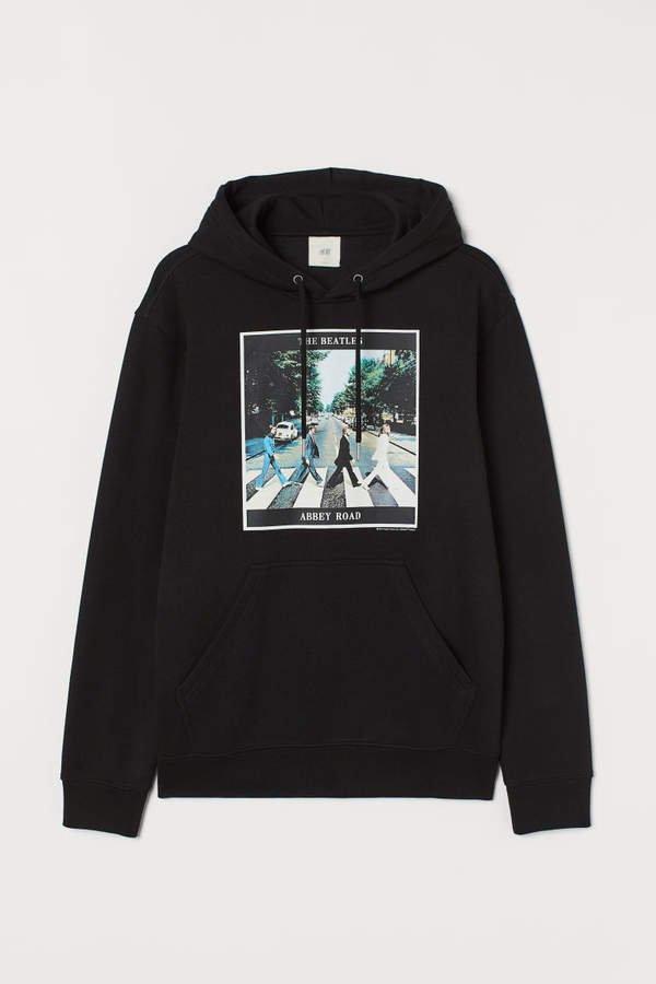 Printed Hooded Sweatshirt - Black