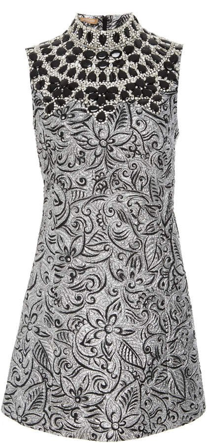 Shift Dress With Embroidered Bib