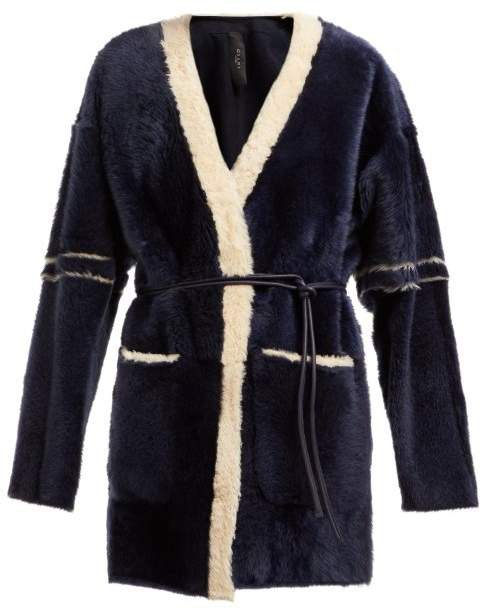 Giani Firenze - Gioia Belted Shearling Coat - Womens - Navy Multi