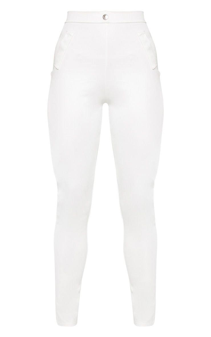 White Disco Split Hem Skinny Trouser | PrettyLittleThing