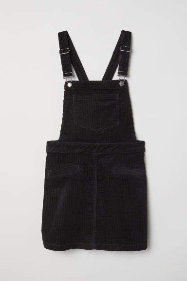 Corduroy Bib Overall Dress - Black