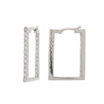 0.64ct 18k White Gold Diamond Square Hoop Earrings