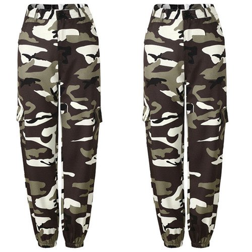 2bb4fbfffc735 Womens Camo Cargo Trousers Casual Pants Military Army Combat ...