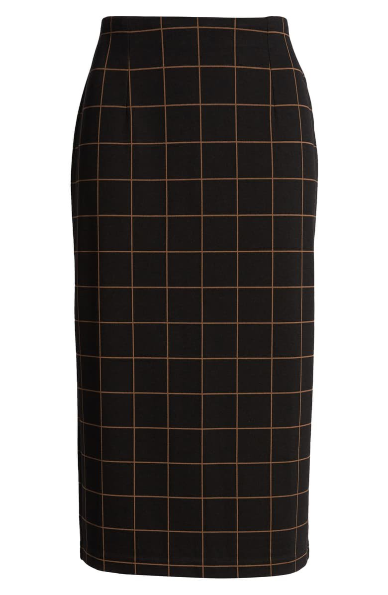 Halogen® Windowpane Ponte Pencil Skirt black