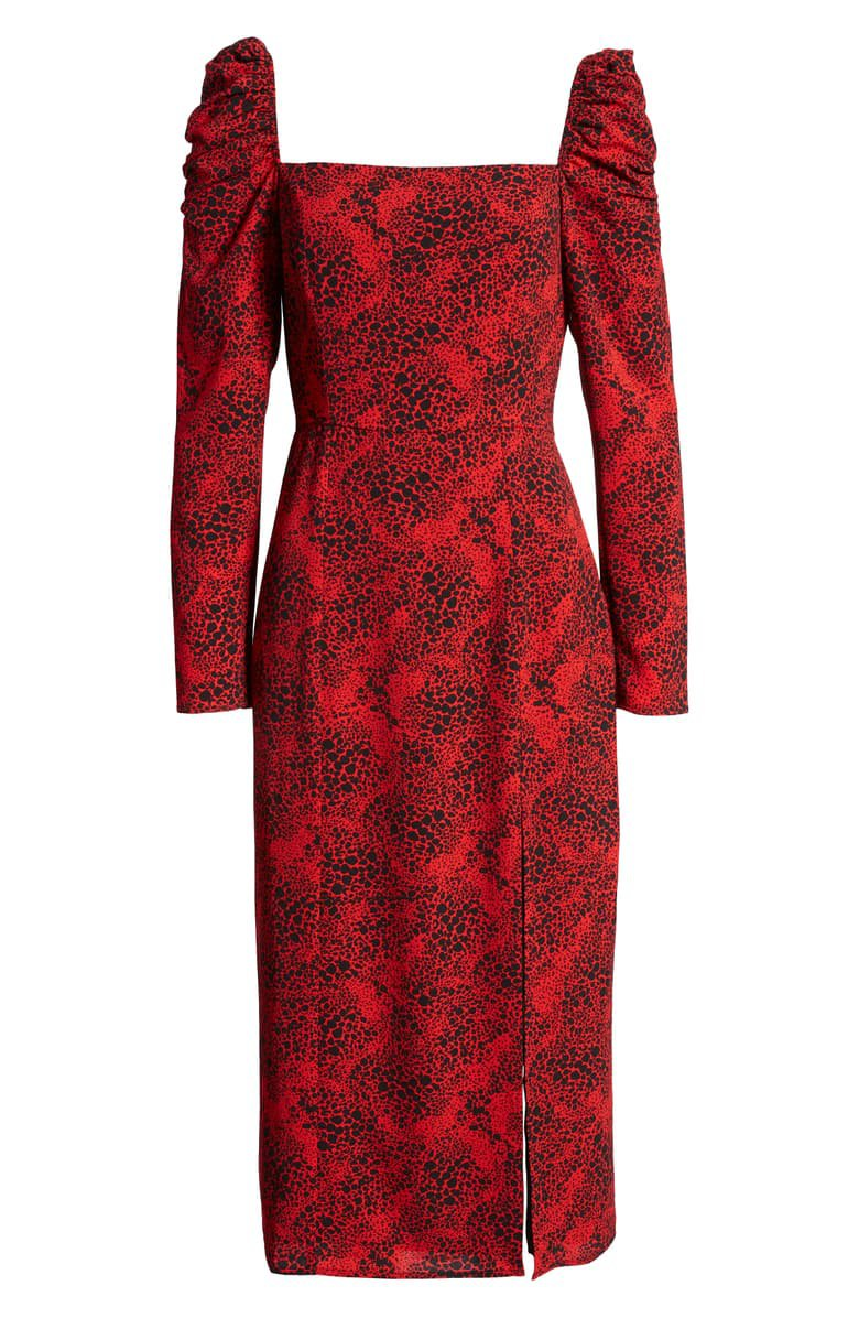 Leith Spatter Print Square Neck Long Sleeve Midi Dress | Nordstrom