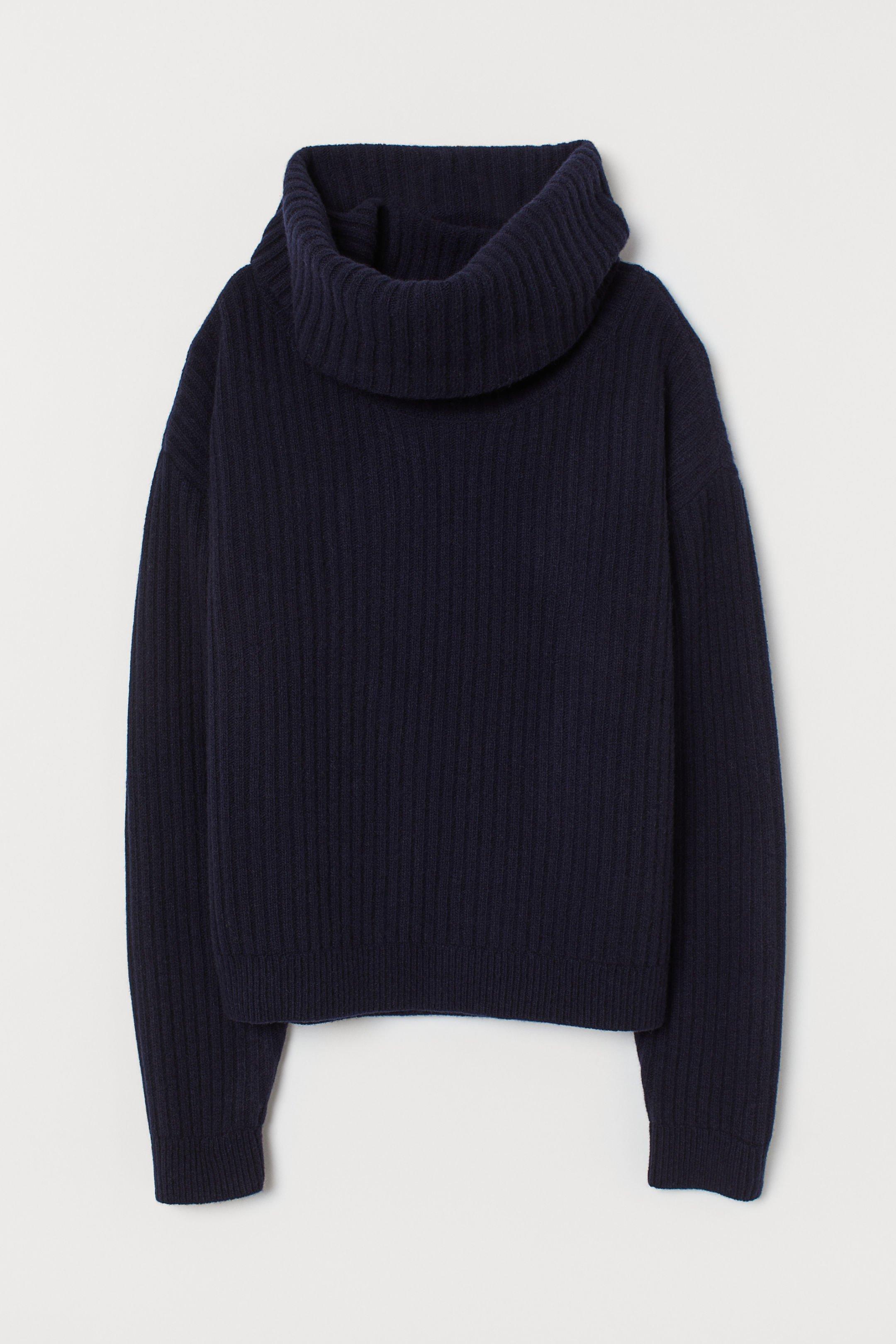 Rib-knit wool jumper - Dark blue - Ladies   H&M GB