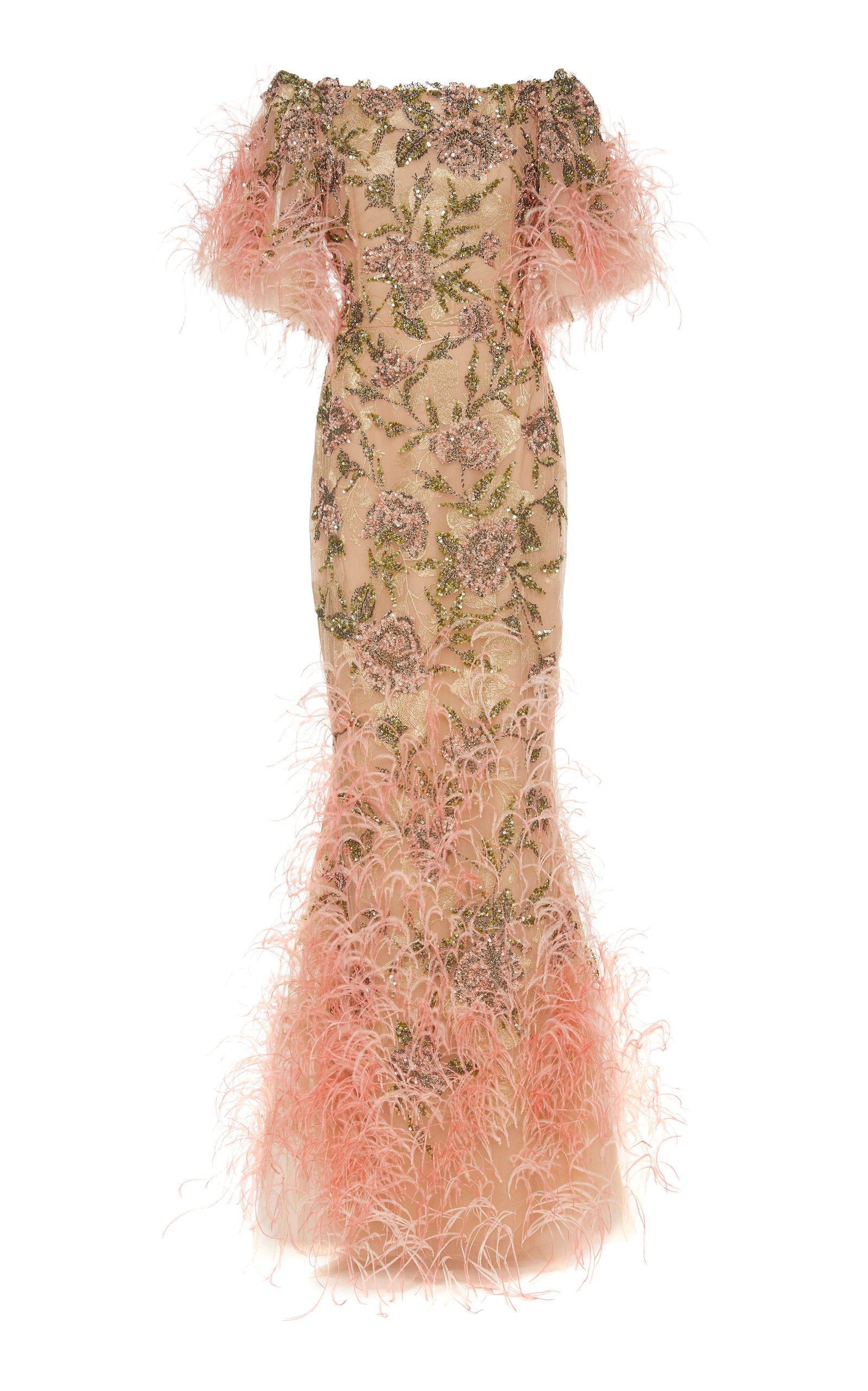 Marchesa Sequin And Feather-Embellished Tulle Gown