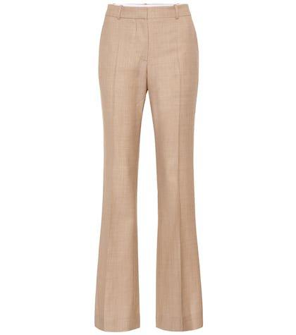 Wool high-rise flared pants