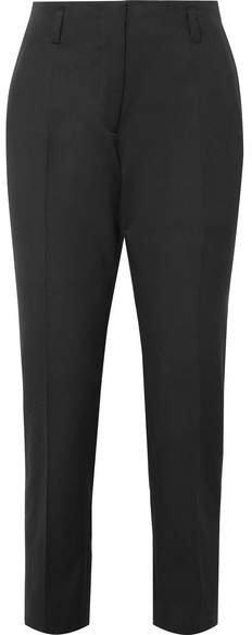 Cotton And Wool-blend Twill Slim-leg Pants - Black