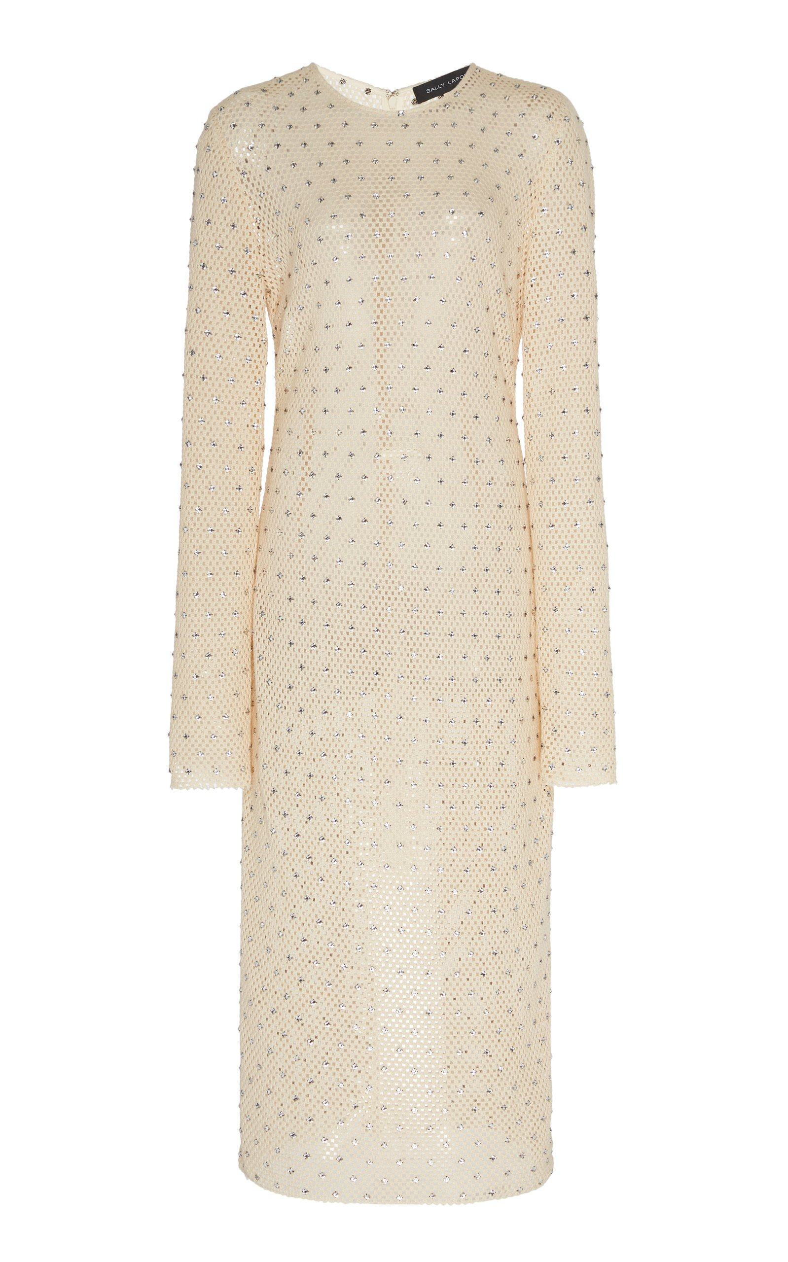 Sally LaPointe Diamond Crochet Fitted Long Sleeve Midi Dress