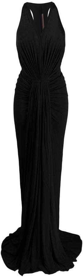 long sleeveless ruched dress