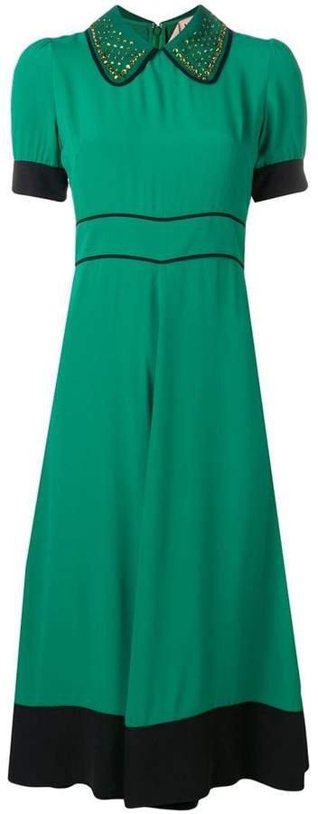 short-sleeve flared dress