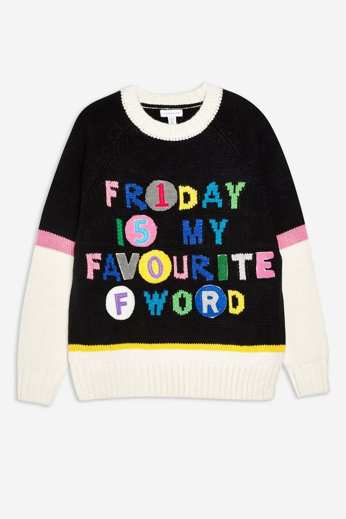 'Friday Is My Fave' Jumper | Topshop black