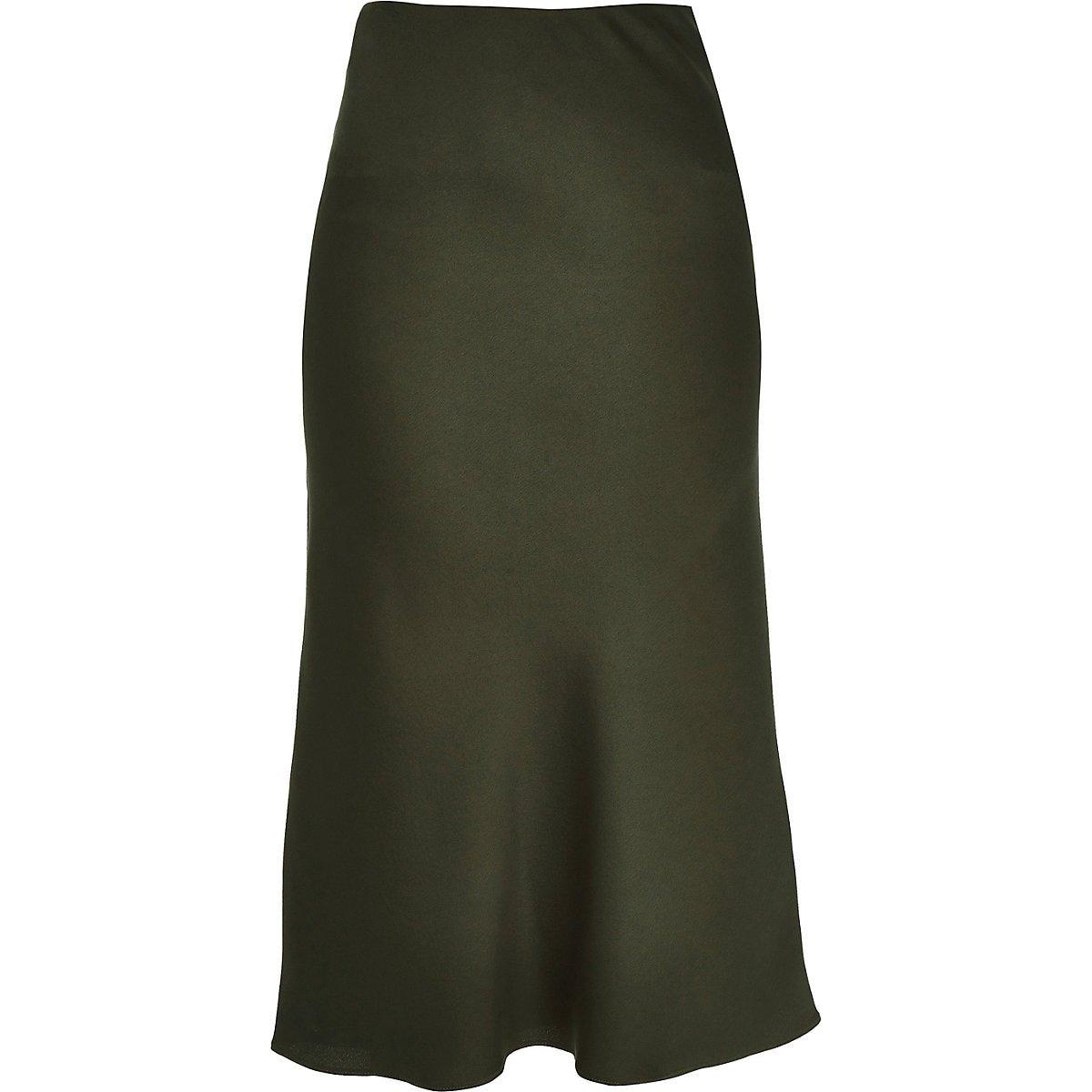 Khaki bias cut midi skirt - Midi Skirts - Skirts - women