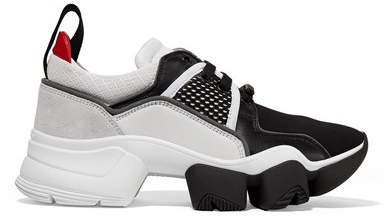 Jaw Mesh And Suede-trimmed Leather, Neoprene And Rubber Sneakers - Black