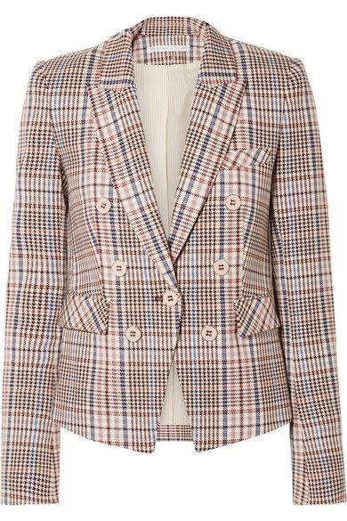 Veronica Beard   Diego Dickey double-breasted houndstooth cotton-blend blazer   NET-A-PORTER.COM