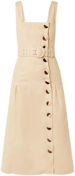 Belted Linen Midi Dress - Beige
