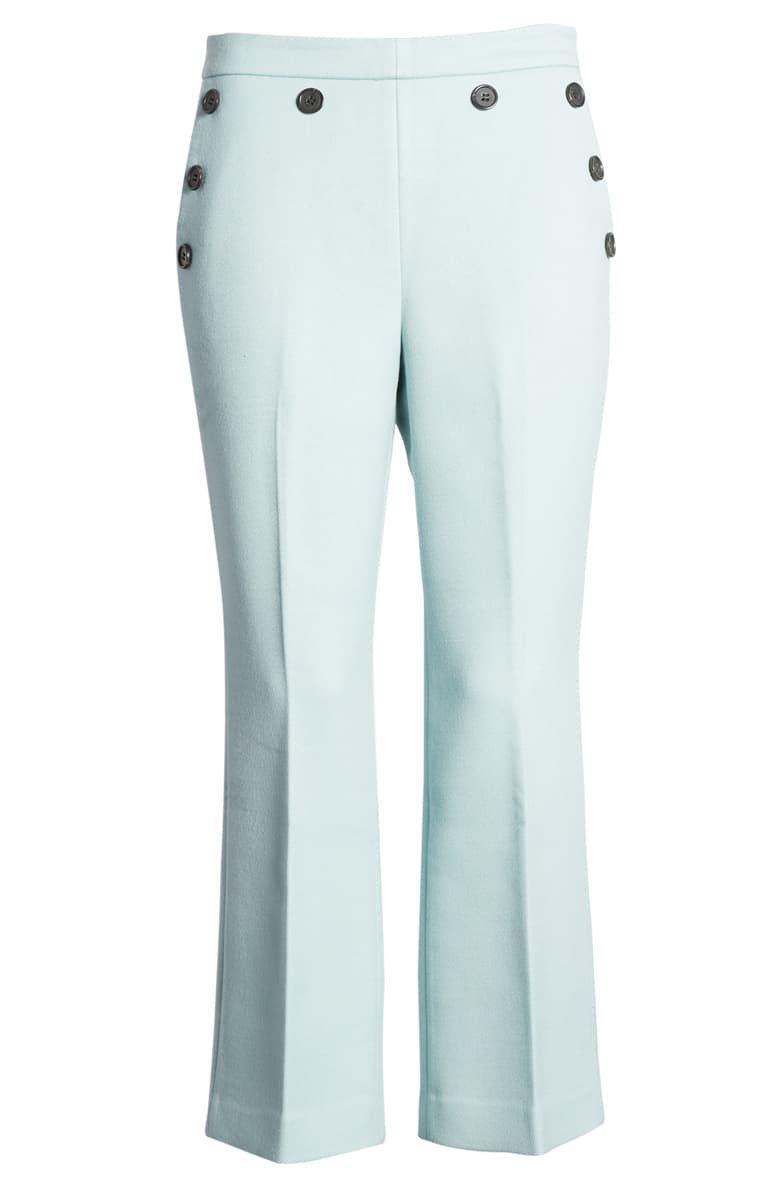 Halogen® x Atlantic-Pacific Button Detail Kick Flair Pants blue
