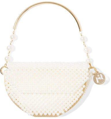 Atena Gold-tone Faux Pearl Tote - Cream