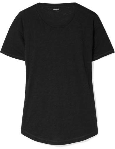 Whisper Slub Cotton-jersey T-shirt - Black