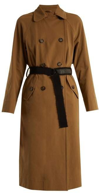 Double Breasted Cotton Gabardine Trench Coat - Womens - Brown
