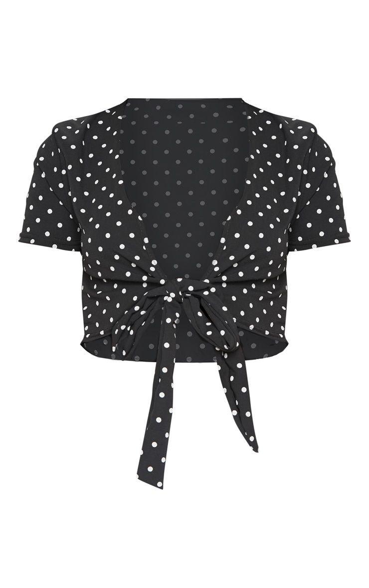 Black Polka Dot Chiffon Tie Front Blouse | PrettyLittleThing