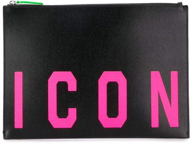 'Icon' print clutch bag