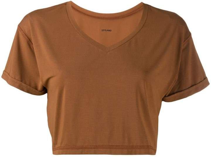 Styland cropped V-neck T-shirt