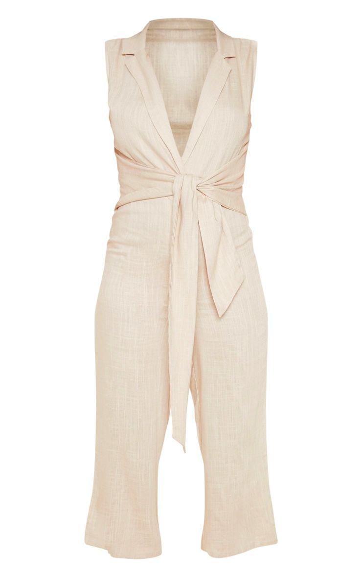 Bright Orange Blazer Style Tie Waist Jumpsuit | PrettyLittleThing