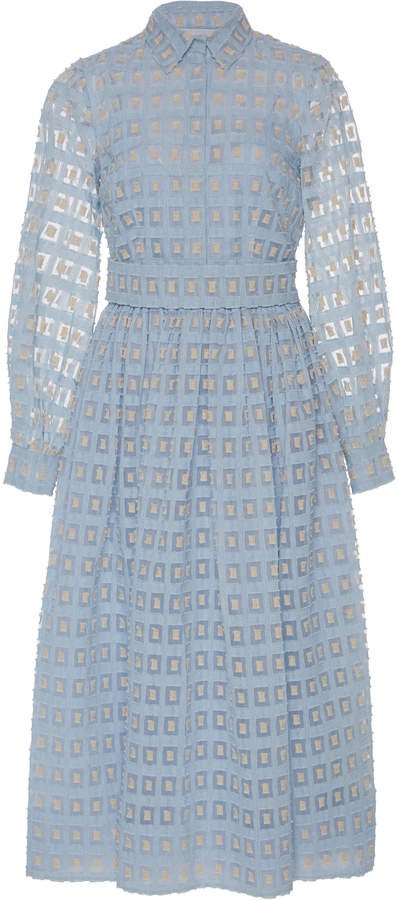 Sheer Jacquard Midi Shirt Dress