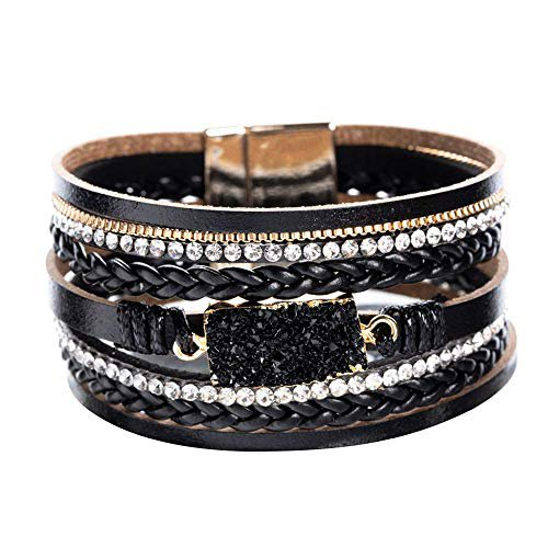 Amazon.com: Vercret Leather Wrap Bracelet for Women - Friendship Bracelets for Girl, Ideal Bangle Gift for Best Friend, Big Sister, Mom (Dark Black): Gateway