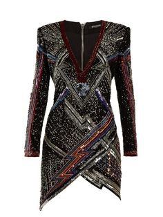 Lightening-bolt split-hem sequinned mini dress