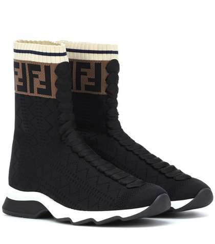 High-top stretch knit sneakers