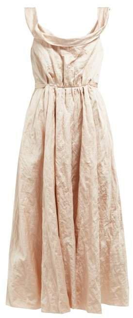 Ochiyo Hammered Sateen Midi Dress - Womens - Pink