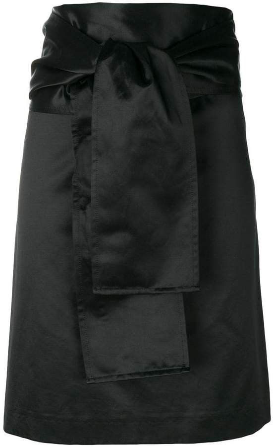 Pre-Owned belted straight skirt