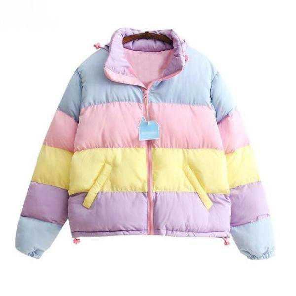 Candy Colored Puffy Bomber Jacket Winter Coat Fairy Kei | Kawaii Babe