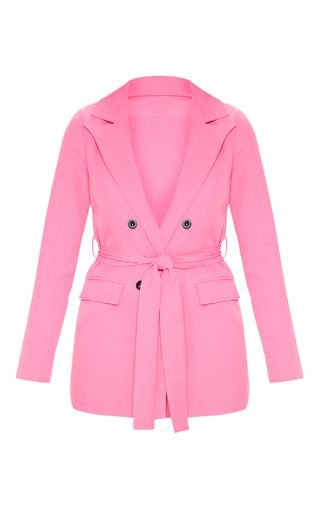 Pink Belted Longline Blazer | Coats & Jackets | PrettyLittleThing