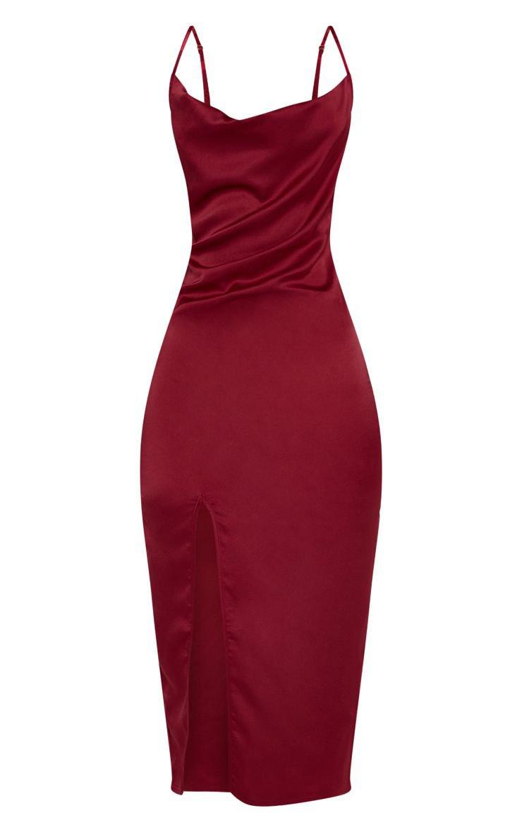 Burgundy Strappy Satin Cowl Midi Dress | PrettyLittleThing USA