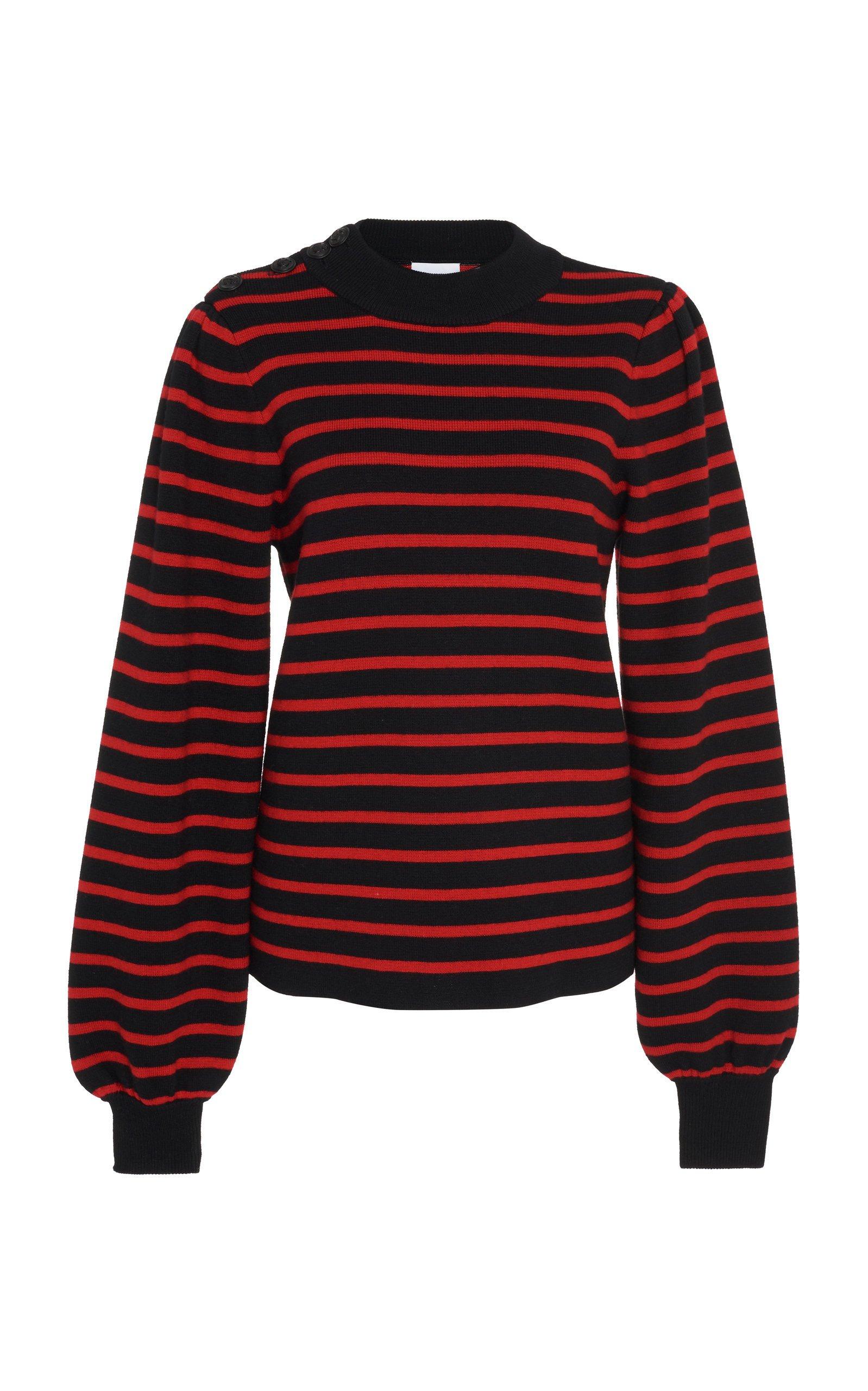 Ganni Striped Wool-Blend Sweater