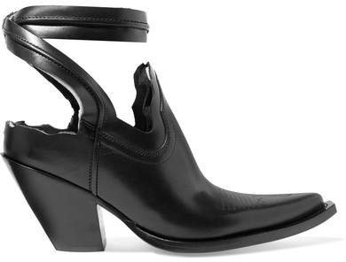 Distressed Cutout Leather Ankle Boots - Black