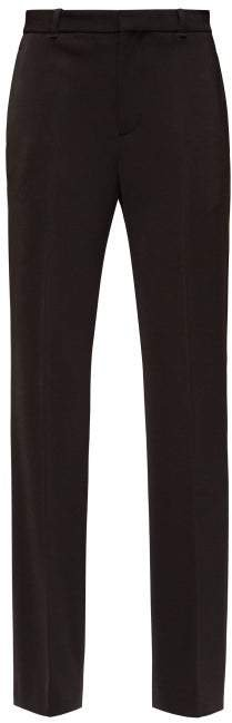 High Rise Tailored Crepe Trousers - Womens - Black