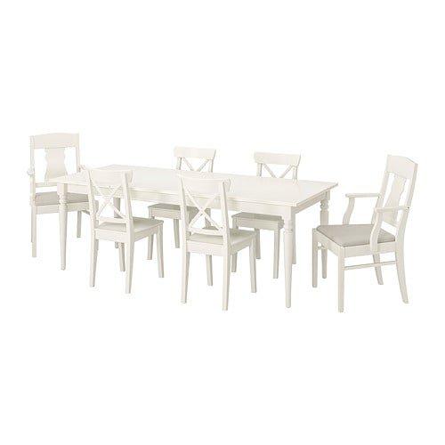IKEA - INGATORP / INGOLF Table and 6 chairs, white, Nordvalla beige