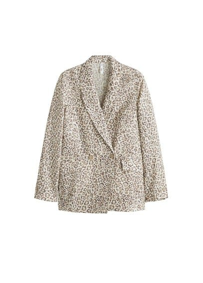 MANGO Leopard linen blazer